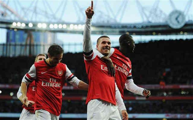 Podolski gets a bullet of a goal
