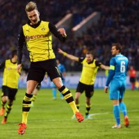 Reus celebrates as Borussia Dortmund have a big advantage in going to the quarter finals