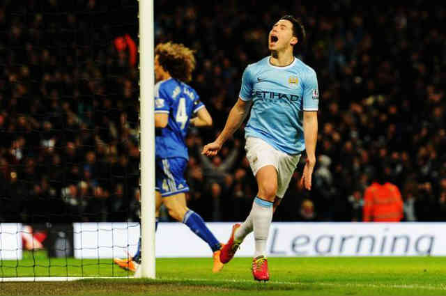 Samir Nasri celebrates his amazing goal against Chelsea