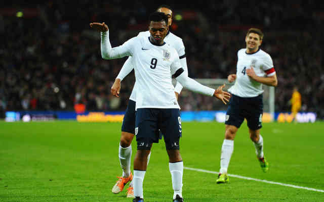 Daniel Sturridge celebrates his late goal for England