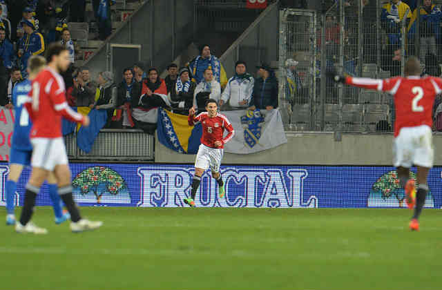 Gedo celebrates his goal against Bosnia